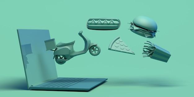 Acquista cibo online con il laptop take away consegna moto pizza hamburger patatine copia spazio