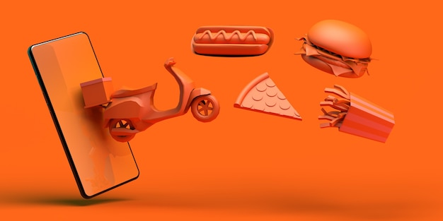Acquista cibo online con lo smartphone consegna moto hot dog pizza hamburger patatine illustrazione 3d
