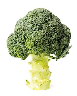 Cavolo broccolo su un bianco, da vicino.