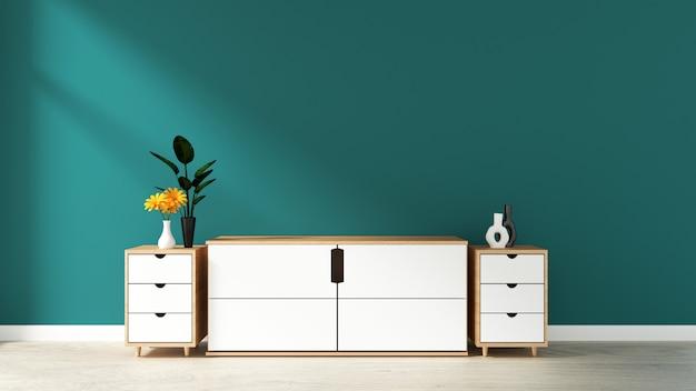 Gabinetto nella stanza vuota moderna, parete verde scuro sul pavimento di legno, rappresentazione 3d