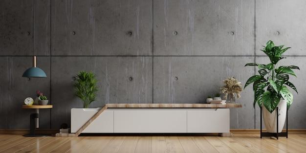 Mobile tv nella stanza interna vuota, muro di cemento con ripiano in legno, lampada, piante e legno da tavola, rendering 3d