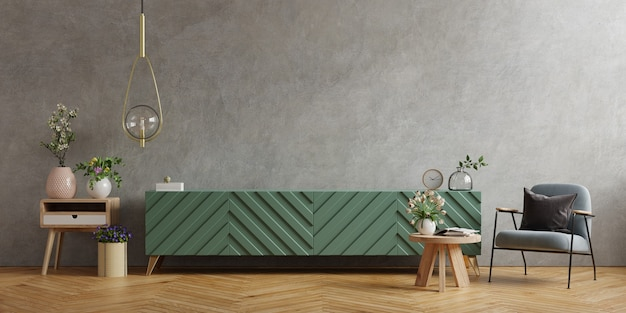 Mobile tv in soggiorno moderno con poltrona e pianta sul muro di cemento, rendering 3d
