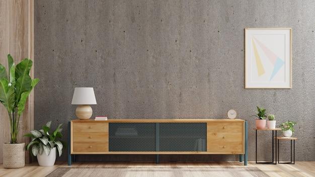 Mobile tv in soggiorno moderno con decorazione sul muro di cemento, rendering 3d