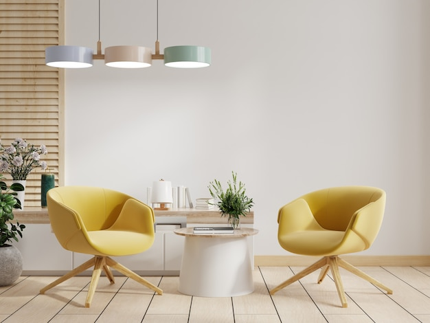 Armadio e parete in soggiorno con due poltrone gialle, parete bianca, rendering 3d