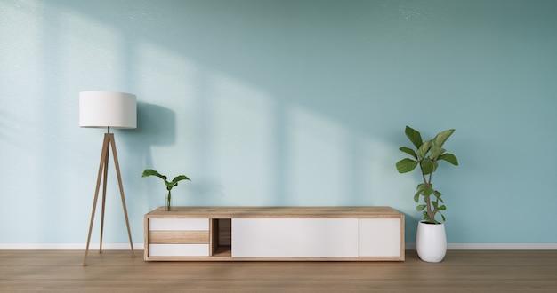 Il design in legno dell'armadio su interni in stile moderno della stanza della menta
