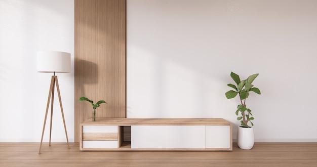 Cabinet design in legno su stile moderno interno camera bianca