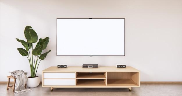 Mobile in legno dal design giapponese sulla parete vuota in stile zen del soggiorno