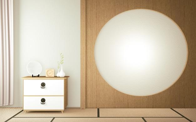 Cabinet in zen stanza vuota giapponese - stile zen, design minimale.