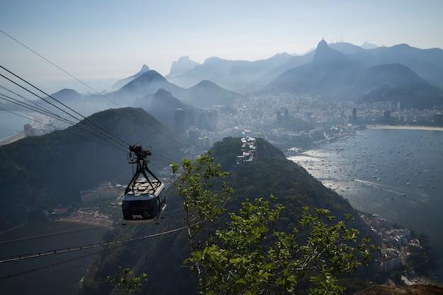 Funivia nel pan di zucchero a rio de janeiro in brasile.