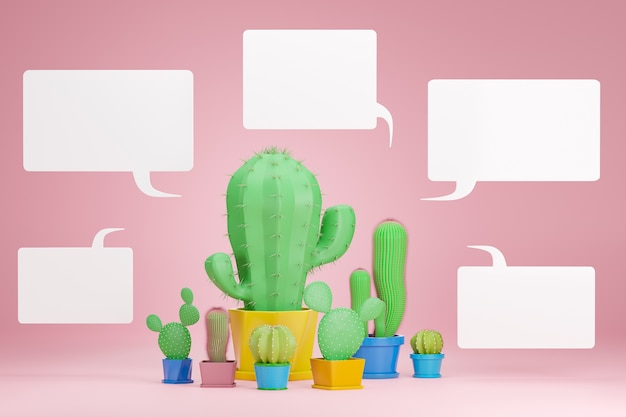 Cactus di diverse dimensioni e caselle di testo