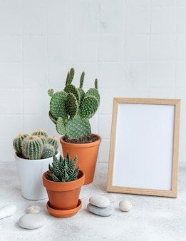 Cactus e piante grasse in vaso e mock up poster frame sul tavolo