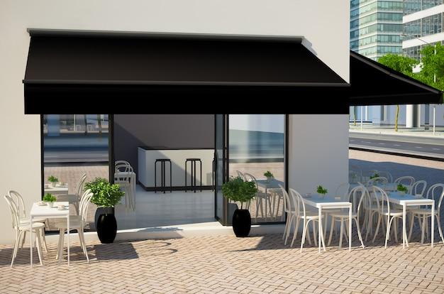 Cafe facciata mockup che mostra display e tenda da sole