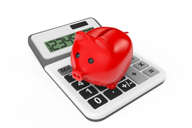 Calcolo del concetto di risparmio. salvadanaio con calcolatrice su sfondo bianco