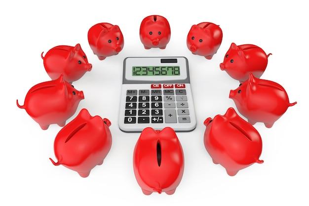 Calcolo del concetto di risparmio. salvadanai con calcolatrice su sfondo bianco