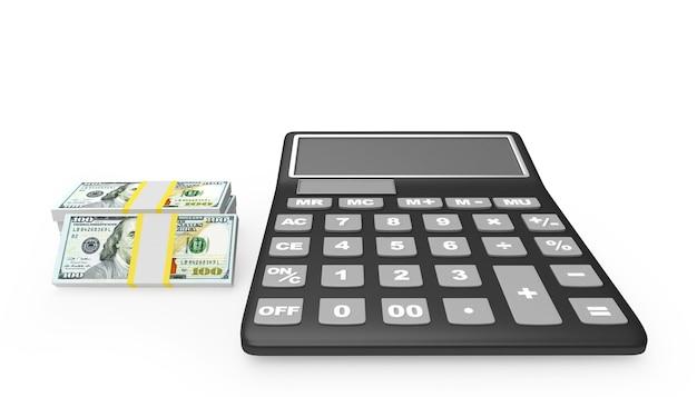 Calcolatrice e banconote da un dollaro nelle vicinanze