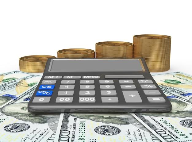 Calcolatrice e pile di monete d'oro sulle banconote da un dollaro