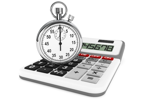 Calcolatrice e cronometro su sfondo bianco