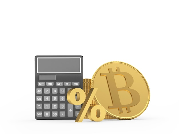 Calcolatrice con moneta bitcoin e segno di percentuale