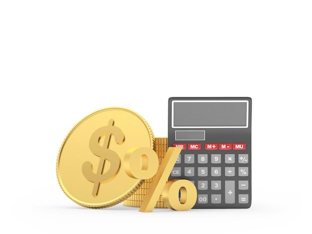 Calcolatrice con moneta da un dollaro e segno di percentuale