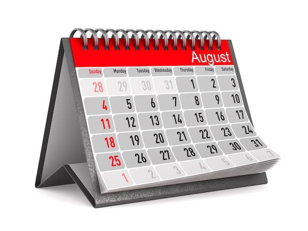 Calendario per agosto. 3d'illustrazione