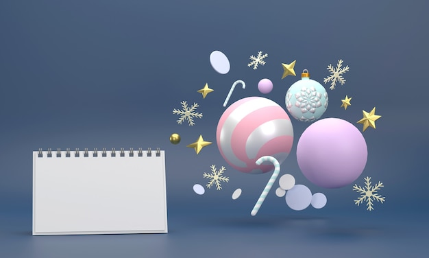 Calendario sulle celebrazioni festive per le feste di natale e capodanno palle di natale nastri scatole regalo