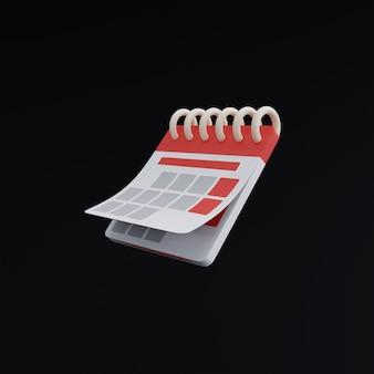 Icona del calendario su sfondo nero