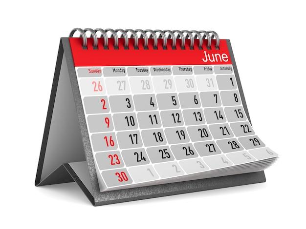 Calendario per giugno. illustrazione 3d isolata