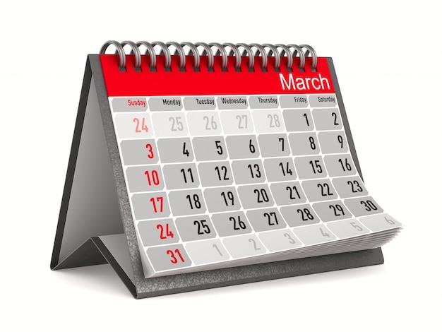 Calendario per marzo. illustrazione 3d isolata
