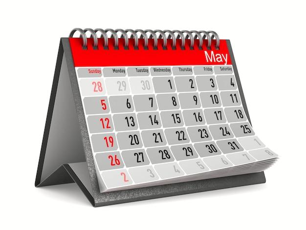 Calendario per maggio. illustrazione 3d isolata