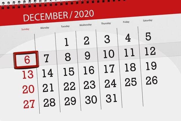 Pianificatore di calendario per il mese di dicembre 2020, giorno di scadenza, 6, domenica.