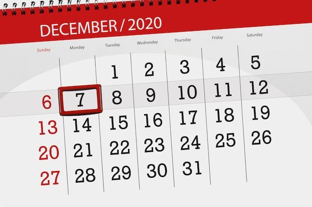 Pianificatore di calendario per il mese di dicembre 2020, giorno di scadenza, 7, lunedì.