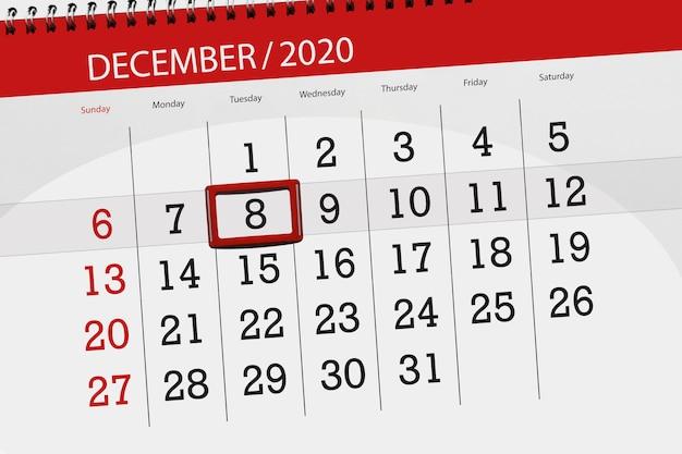 Pianificatore di calendario per il mese di dicembre 2020, giorno di scadenza, 8, martedì.