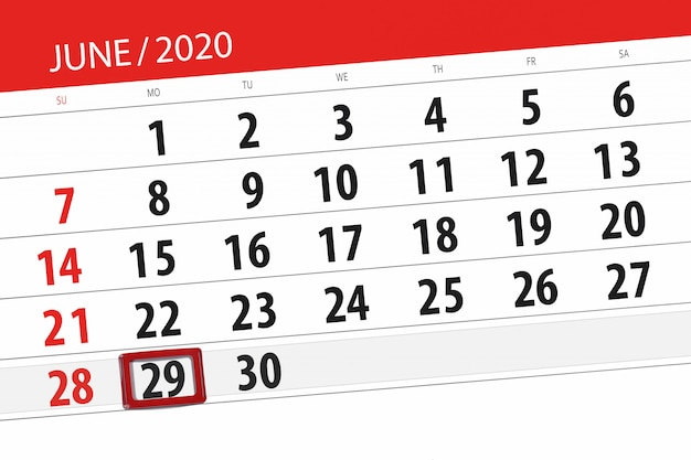Calendario planner per il mese di giugno