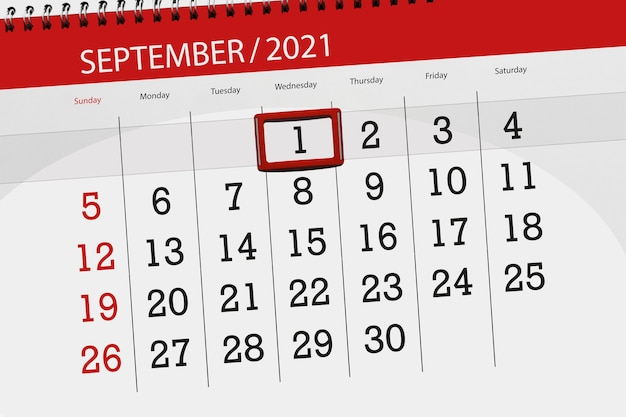 Pianificatore di calendario per il mese settembre 2021, giorno di scadenza, 1, mercoledì.