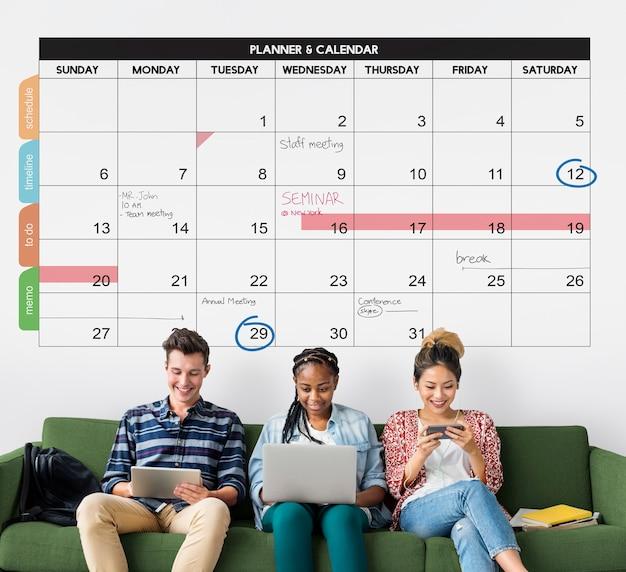 Concetto di promemoria per la gestione dell'organizzazione del pianificatore del calendario