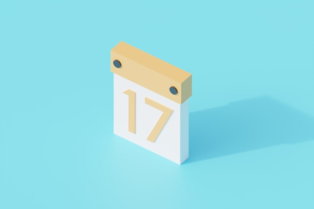 Calendario singolo oggetto isolato. rendering 3d