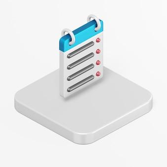 Icona di linea retta del calendario nell'elemento di interfaccia utente di rendering 3d ux