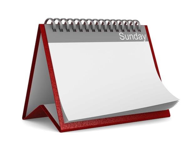 Calendario per domenica su sfondo bianco. illustrazione 3d isolata