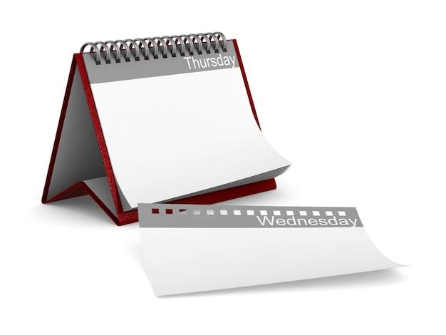 Calendario per giovedì su sfondo bianco. illustrazione 3d isolata Foto Premium