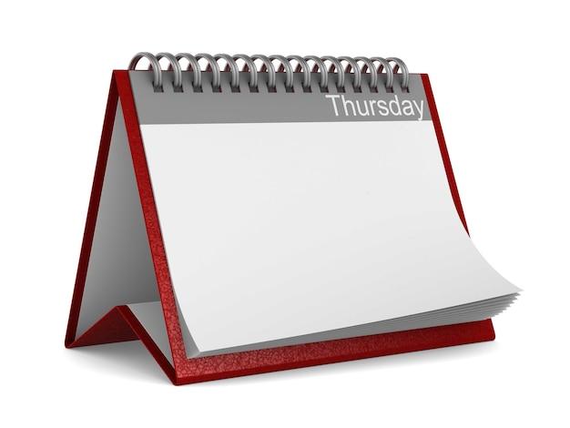 Calendario per giovedì su sfondo bianco. illustrazione 3d isolata