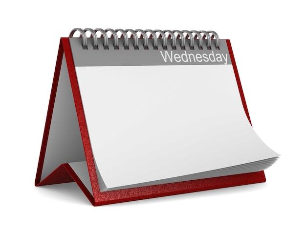 Calendario per mercoledì su sfondo bianco. illustrazione 3d isolata