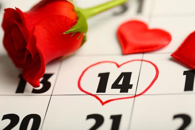 Calendario con data del 14 febbraio e fiore di rosa. concetto di giorno di san valentino
