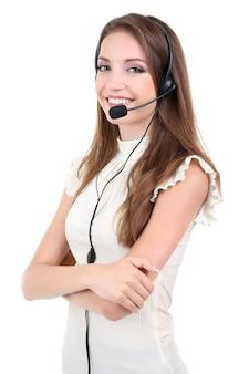 Operatore di call center isolato su bianco