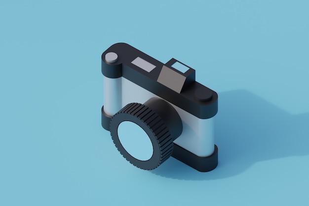 Fotocamera singolo oggetto isolato. 3d render illustrazione isometrica