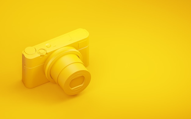 Fotocamera con sfondo giallo. rendering 3d