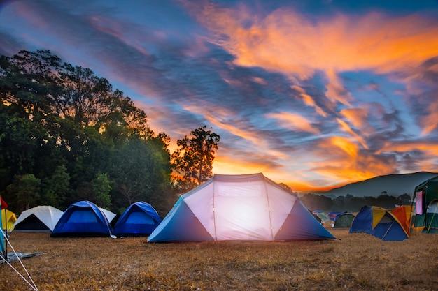Campeggio e tenda sotto una foresta bella luce del sole al mattino