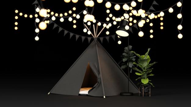 Rendering di decorazioni per tende da campeggio e illuminazione