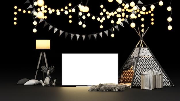 Tenda da campeggio e decorazione luminosa con rendering dello schermo tv