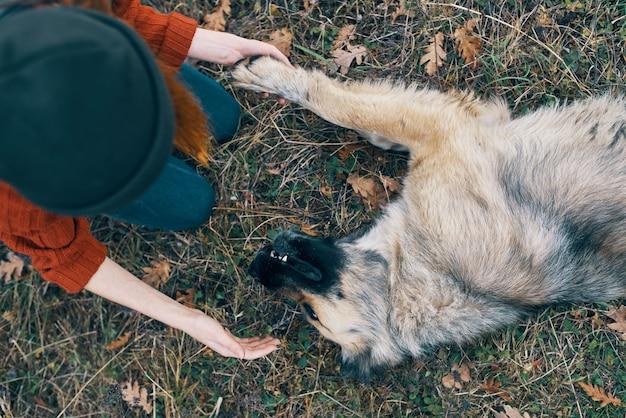 Posso una donna turista nella natura che gioca con un'amicizia di viaggio con il cane