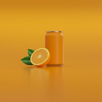 Lattina di soda con mezza arancia e foglie verdi.